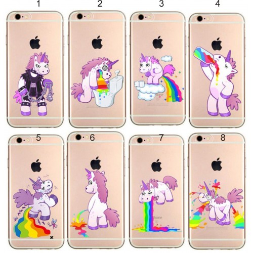 COVER Custodia CASE silicone unicorno cartoon 3D per iphone SE 5 6 6S 7 8 plus X