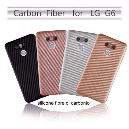 COVER Custodia Case in silicone fibra di carbonio antiscivolo per LG G6 K8 K10