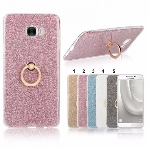 COVER Custodia Case in silicone glitter con supporto per samsung C5 C7 C9 & Pro