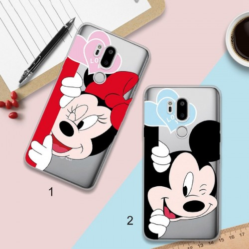 COVER Custodia Case silicone cartoni minnie mickey per LG G6 G7 Q6 k10 2017