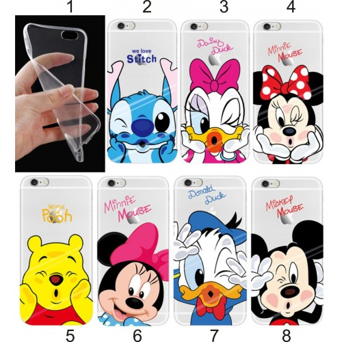 COVER Custodia TPU fumetti stitch minnie mickey duck  per iphone 6 7 8 Plus X