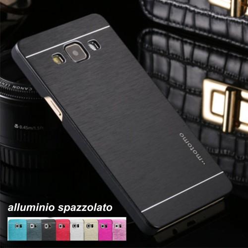 COVER Custodia alluminio spazzolato per Samsung Galaxy J1 J5 J7 A3 A5 A7 2016