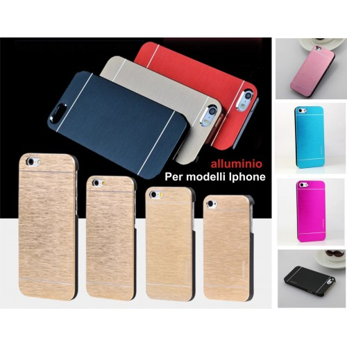 COVER Custodia case alluminio spazzolato Fashion per iphone 4 5 6 7 8 Plus X SE
