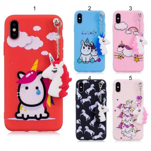 COVER Custodia case in silicone 3D cartone unicorno per apple iphone X XR XS Max