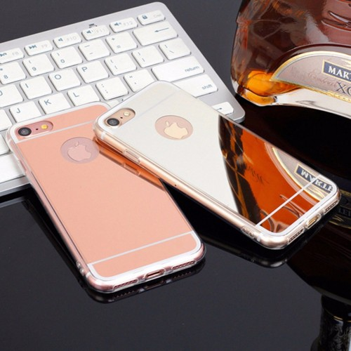 COVER Custodia case in soft tpu retro effetto specchio per iphone 7 7S 8 Plus X