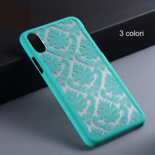COVER Custodia case preformata bordi rinforzati fiori hennè per iphone 8 plus X
