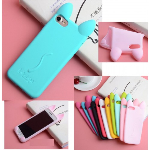 COVER Custodia case silicon orecchie gatto per apple Iphone 4 5 SE 6 7 8 Plus X