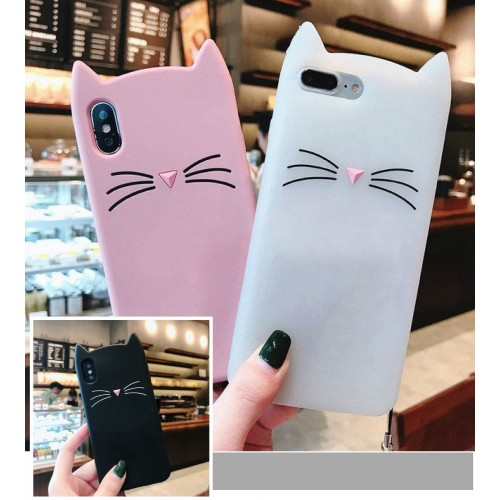 COVER Custodia case silicone 3D orecchie di gatto per apple iphone X XR XS Max.