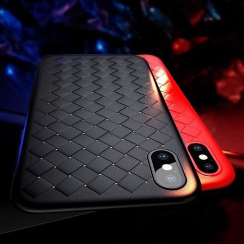 COVER Custodia case silicone effetto fascia intrecciata per iphone 6 7 8 Plus X
