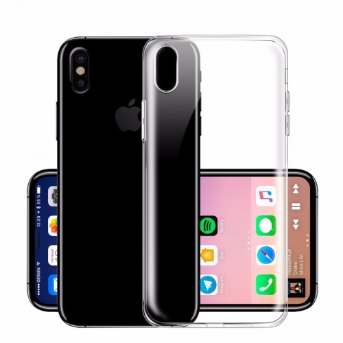 COVER Custodia case silicone preformato con parabordi camera per iphone 8 Plus X