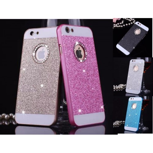 COVER Custodia case strass bling glitter con parabordi per iphone 6 7 8 Plus X