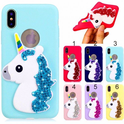 COVER Custodia case unicorno luccicante strass per apple iphone 5 6 7 8 plus X