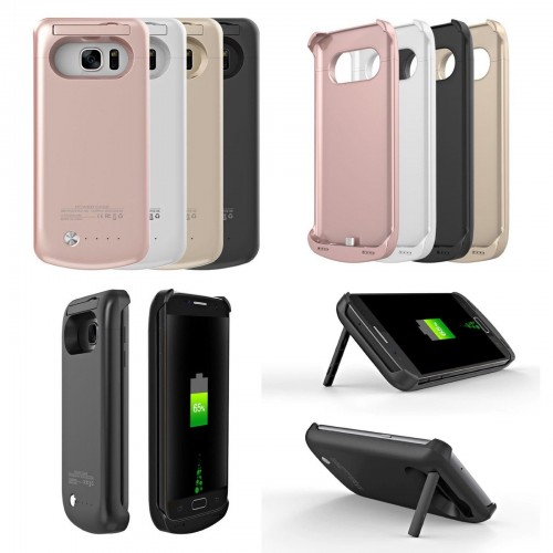 COVER Custodia con batteria powerbank 4200/5200mah per Samsung Galaxy S6 S7 Edge