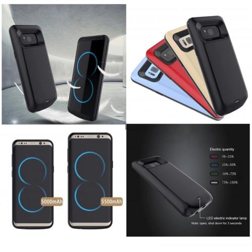 COVER Custodia con batteria powerbank 5000/5500mah per Samsung Galaxy S8 & Plus