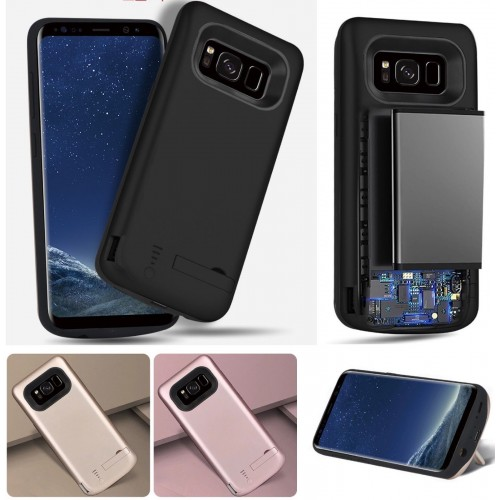 COVER Custodia con batteria powerbank 5000/6500mah per Samsung Galaxy S8 & Plus