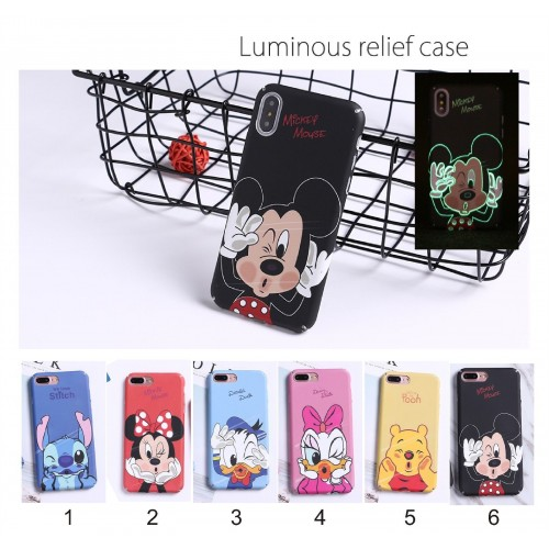 COVER Custodia plastic minnie mickey stitch fluorescente per iphone 6 7 8 plus X
