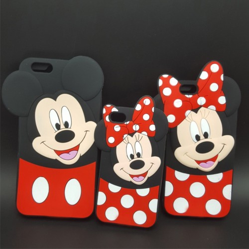 COVER Custodia silicon mickey minnie fumetti 3d per modelli iphone 4 5 6 7 Plus