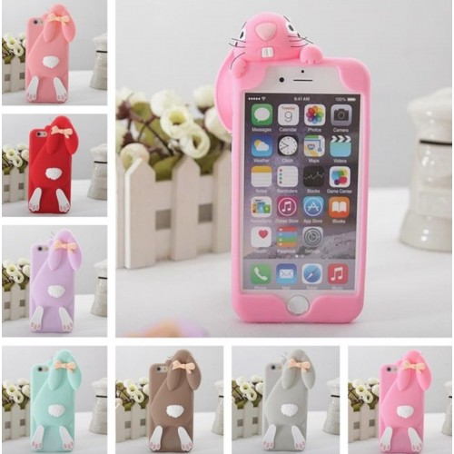 COVER Custodia silicone 3D bunny coniglio per modelli iphone 4 5 6 7 8 Plus X