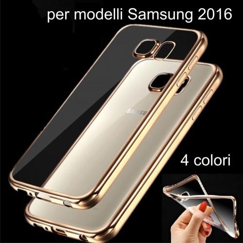 COVER Custodia silicone bordo placcato per Samsung Galaxy J1 J5 J7 A3 A5 A7 2016