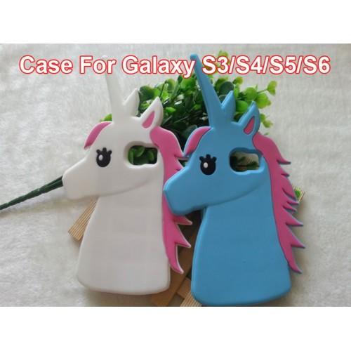 COVER Custodia silicone fumetti unicorno 3D Samsung Galaxy grand neo S3 S4 S5 S6
