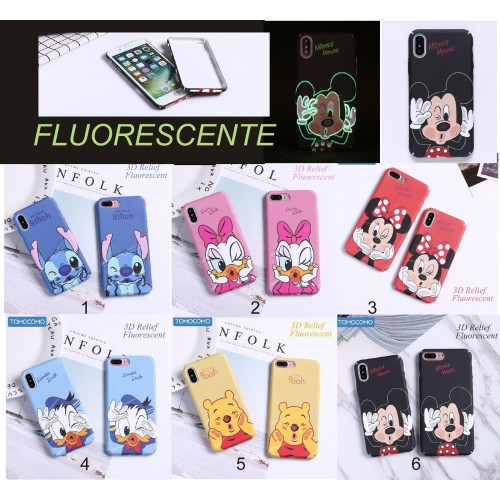 COVER Custodia tpu DAISY minnie DUCK stitch fluorescente per iphone 6 7 8 plus X