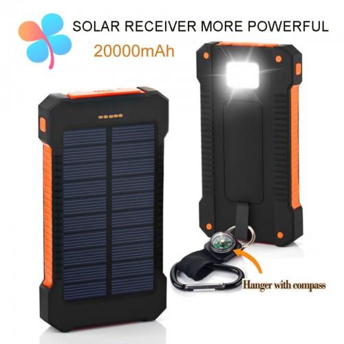 Carica POWER BANK BATTERIA ESTERNA portatile dual USB 20000 mAh universale solar
