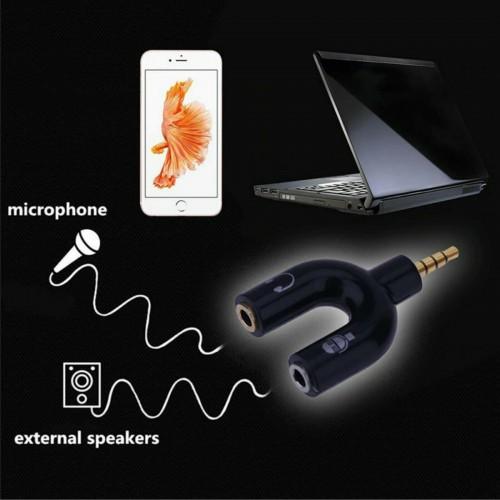 Cavo SDOPPIATORE CUFFIA MICROFONO ADATTATORE JACK AUDIO 3.5MM PER SMARTPHONE PC