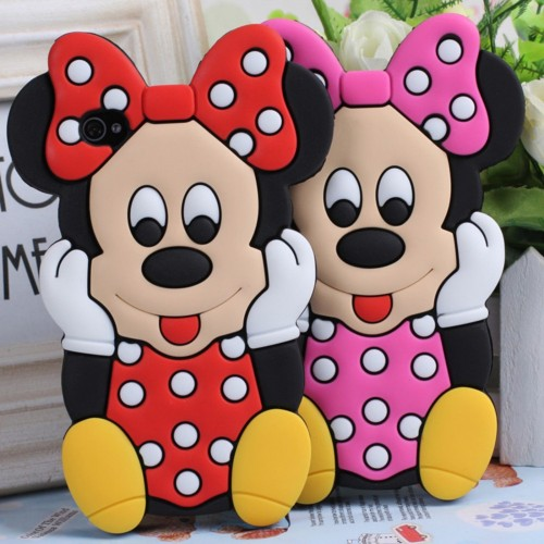 Cover Custodia Case silicon minnie 3D per Samsung Galaxy S3 S4 S5 mini S6 S7 S8