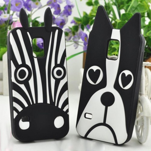 Cover Custodia Case silicone animali zebra dog 3D per Samsung Galaxy S5 mini