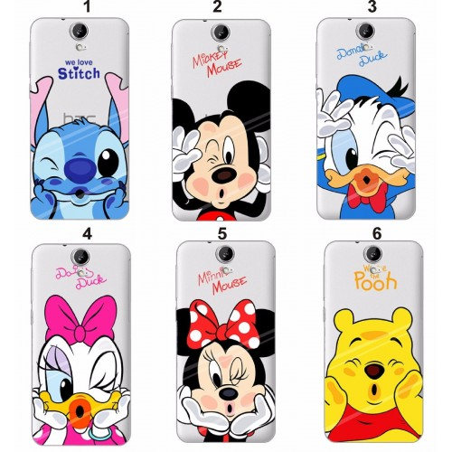 Cover custodia Case TPU duck pooh minnie mickey stitch disney per HTC One M7 M8