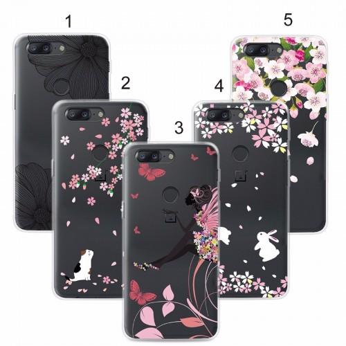 Cover custodia Case in tpu silicone farfalla fiori per modelli OnePlus 5T 5