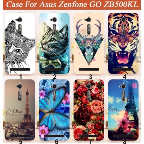 Cover custodia Case plastica cat tiger tour fiori per Asus Zenfone GO ZB500KL