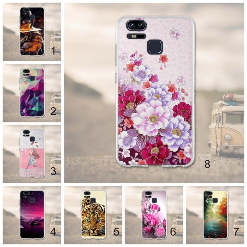 Cover custodia Case silicon fiori animali cat per Asus Zenfone 3 S Zoom ZE553KL
