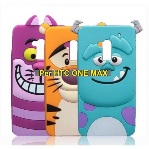 Cover custodia Case silicone 3D tiger sulley cat alice per modelli HTC One Max