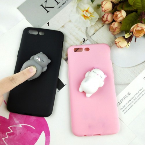 Cover custodia Case silicone 3d antistress gommoso soft cat per OnePlus 6 5T 5