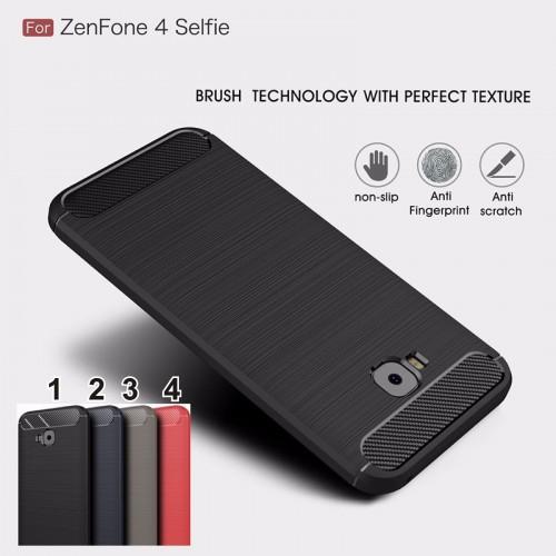 Cover custodia Case silicone fibra di carbonio per Asus Zenfone 4 selfie ZD553KL