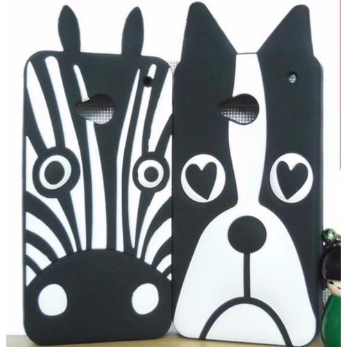 Cover custodia Case silicone zebra dog cartoni 3D per i modelli HTC One & Desire