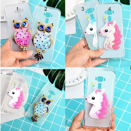 Cover custodia Case soft bling unicorno gufo per Asus Zenfone 4 selfie PRO Max