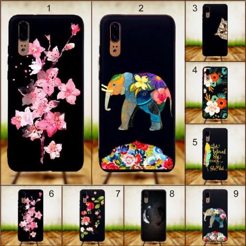 Cover custodia case in silicone soft fiori gatto elefante per Huawei P20 & lite