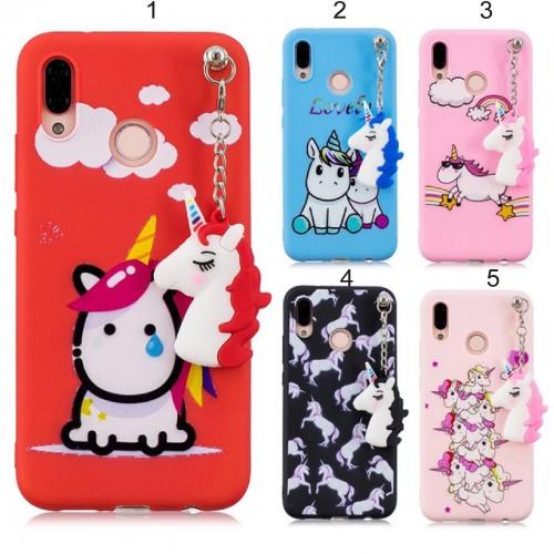 Cover custodia case silicone 3D pendente unicorno per Huawei P20 & lite Nove 3e