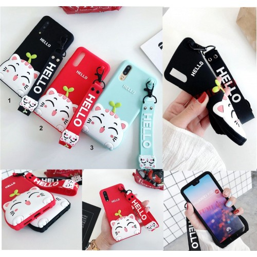 Cover custodia gatto kitty per Huawei P8 P10 P20 lite Pro Honor Enjoy Mate Nova