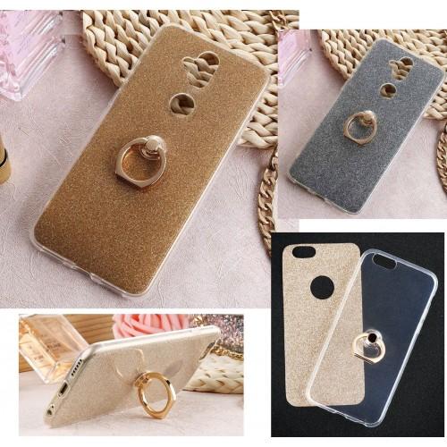 Cover custodia in silicone bling glitter con anello per Asus Zenfone 5 5Z lite