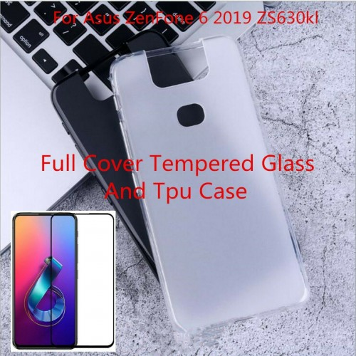 Cover custodia silicone antiscivolo paraurti + vetro per Asus Zenfone 6 ZS630KL