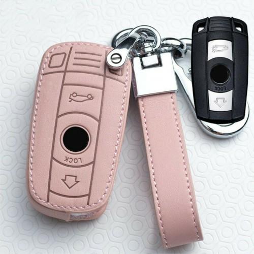 Cover telecomando fashion in pelle con portachiavi per BMW X1 320i x5 Z4 X6 3 5