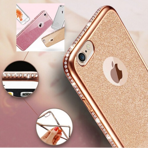 Custodia Cover case Fashion silicone bling strass per Apple IPhone 6 7 8 Plus X
