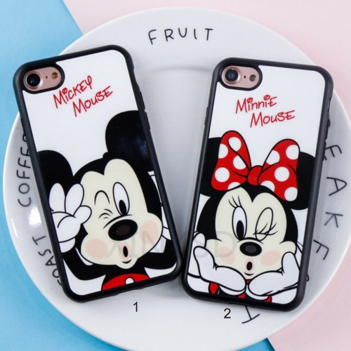 Custodia Cover case cartoon minnie mickey topo per Apple IPhone 5 6 7 8 Plus X