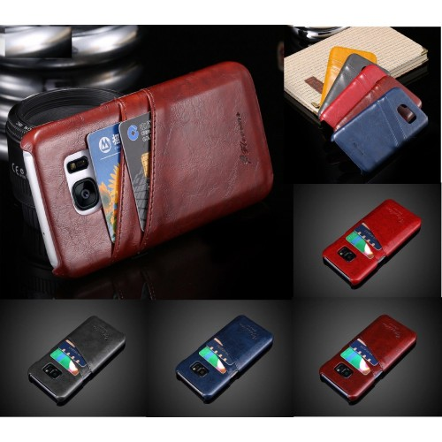 Custodia Cover case cuoio con slot card per Samsung Galaxy S6 S7 S8 Edge Plus