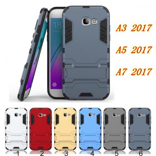 Custodia Cover case gomma hybrid con cavalletto per Samsung Galaxy A3 A5 A7 2017