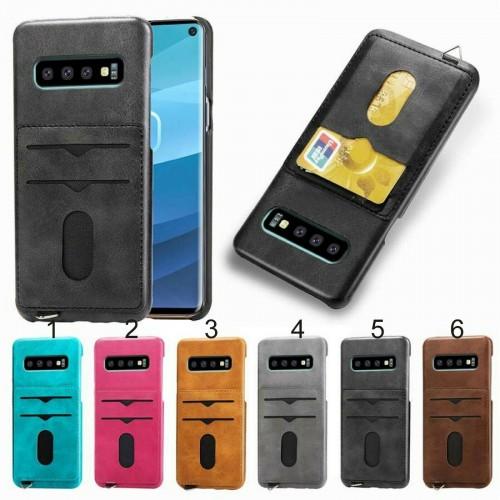 Custodia Cover case in cuoio con slot card protezione per Samsung S10 S10E Plus