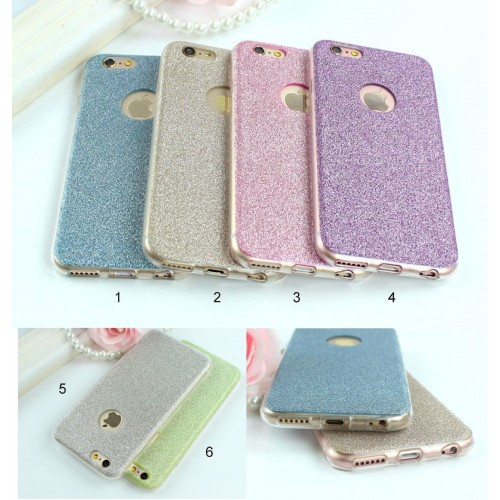 Custodia Cover case in silicone bling glitter per Apple IPhone 5 6 7 8 Plus X